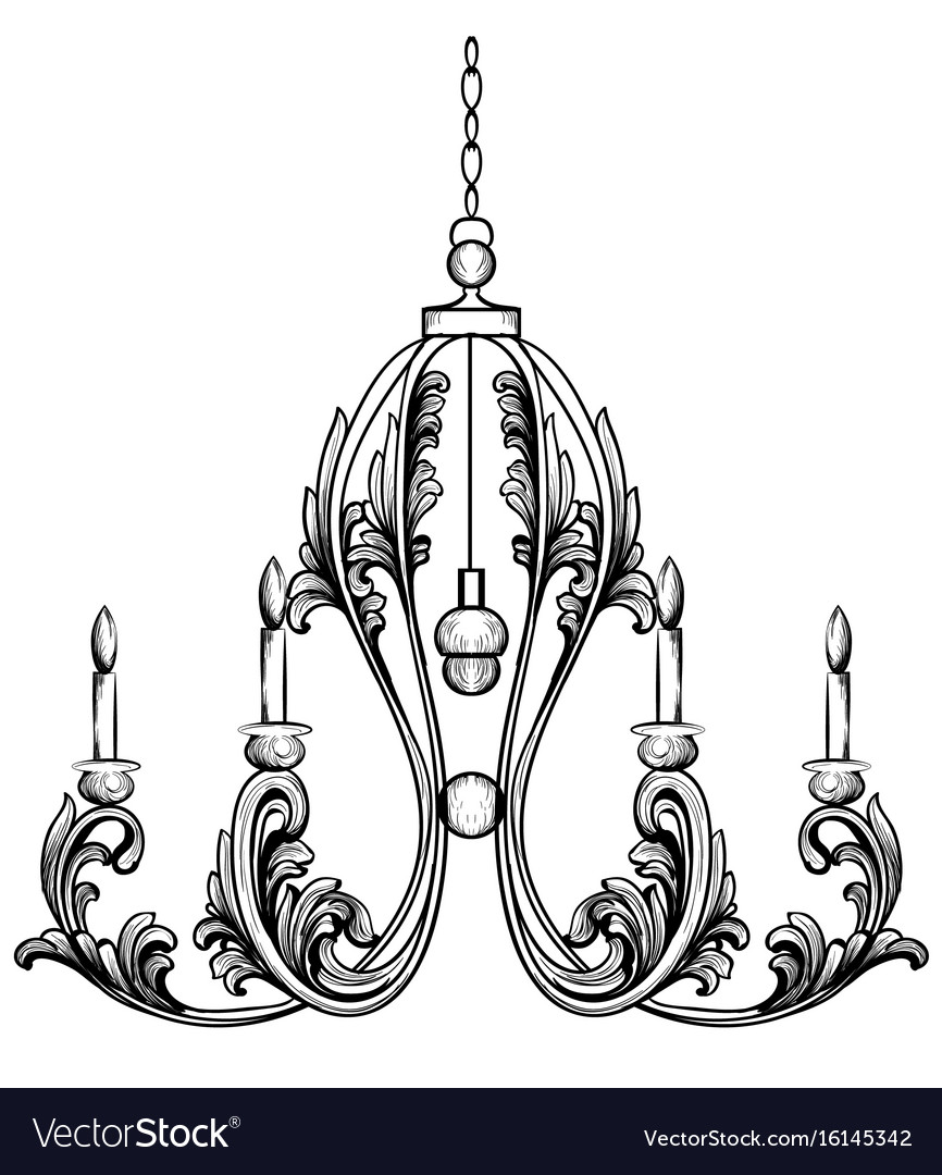 Rich rococo classic chandelier luxury decor vector image