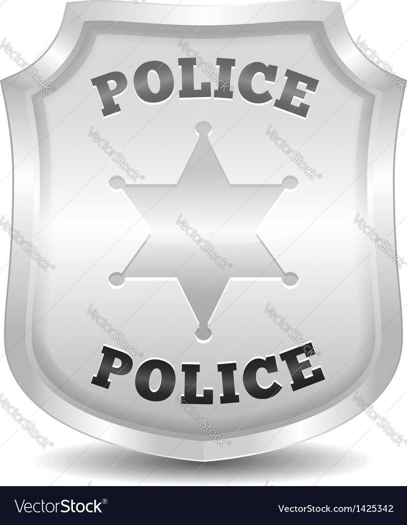 silver police badge royalty free vector image vectorstock