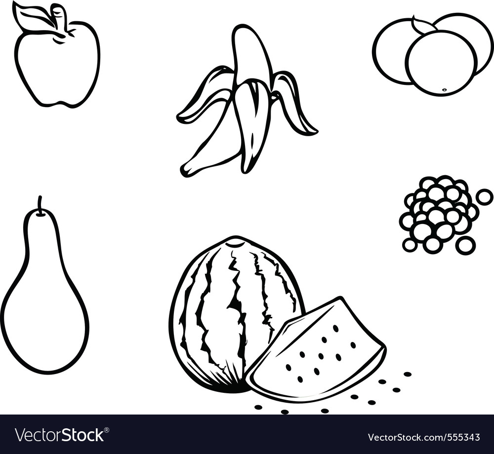 Fruits collection outline Royalty Free Vector Image