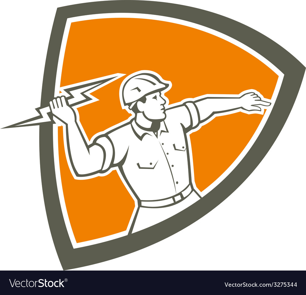Electrician Holding Lightning Bolt Shield Retro vector image