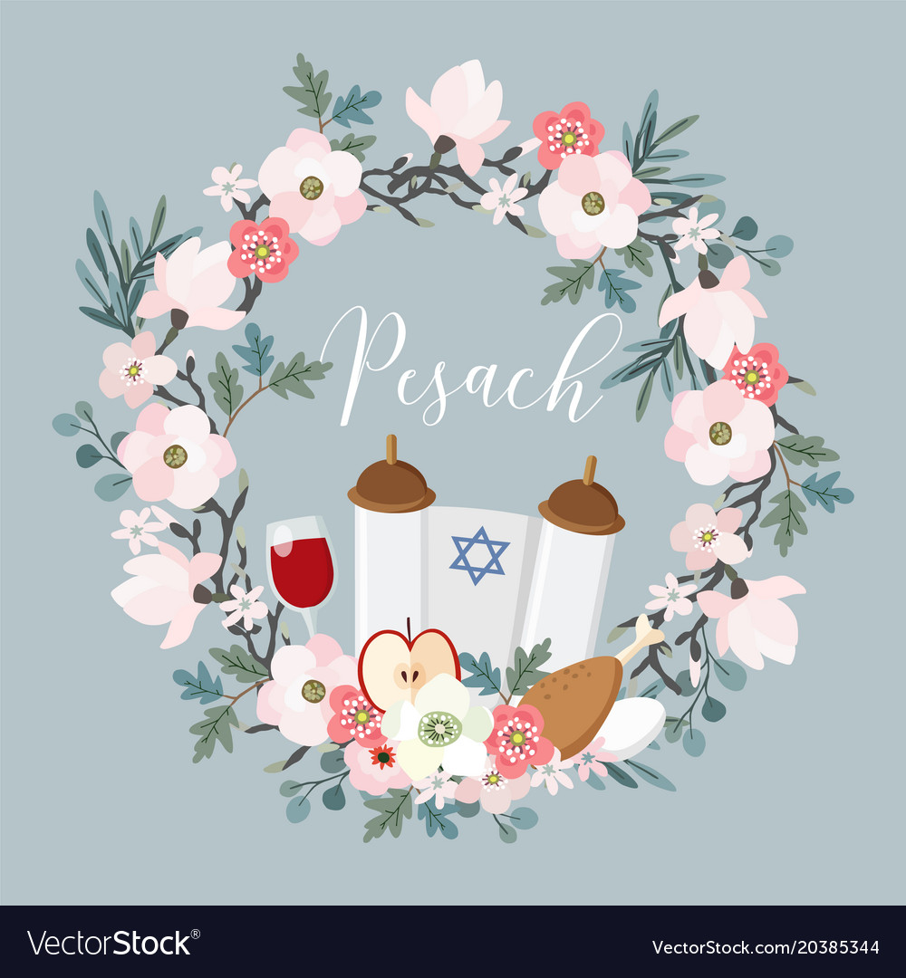 Pesach passover greeting card hand drawn floral vector image m4hsunfo