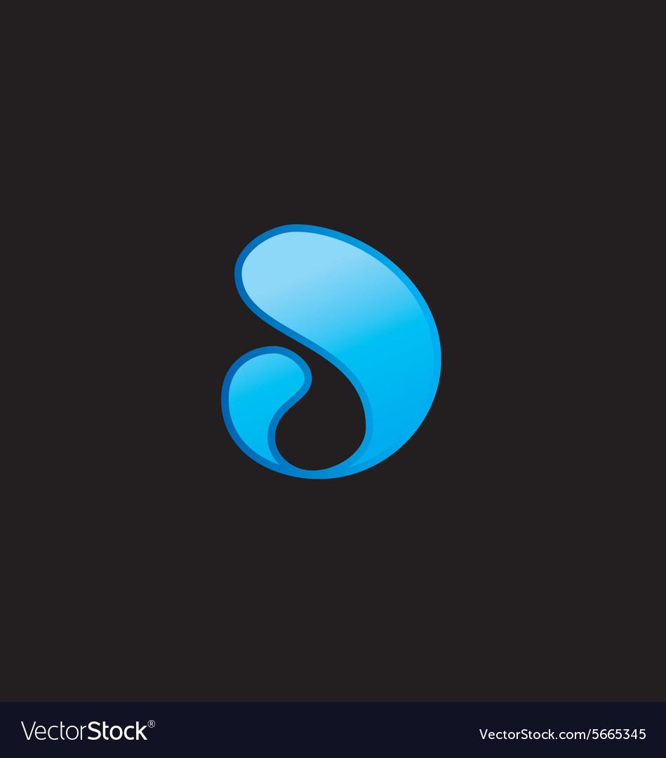 Abstract swosh liquid blue logo vector image