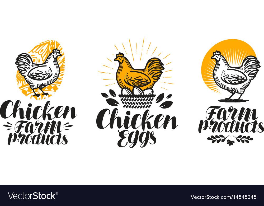 Chicken hen label set poultry farm egg meat vector image