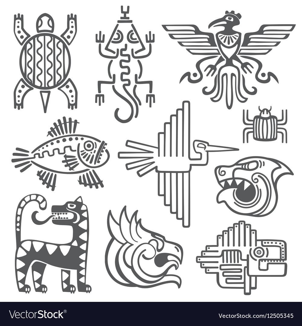 Historic aztec inca symbols mayan temple vector image buycottarizona Image collections