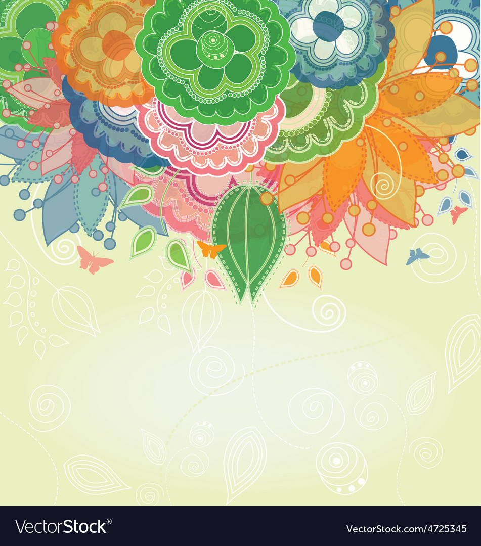 Modern Flower Background with Butterflies vector image