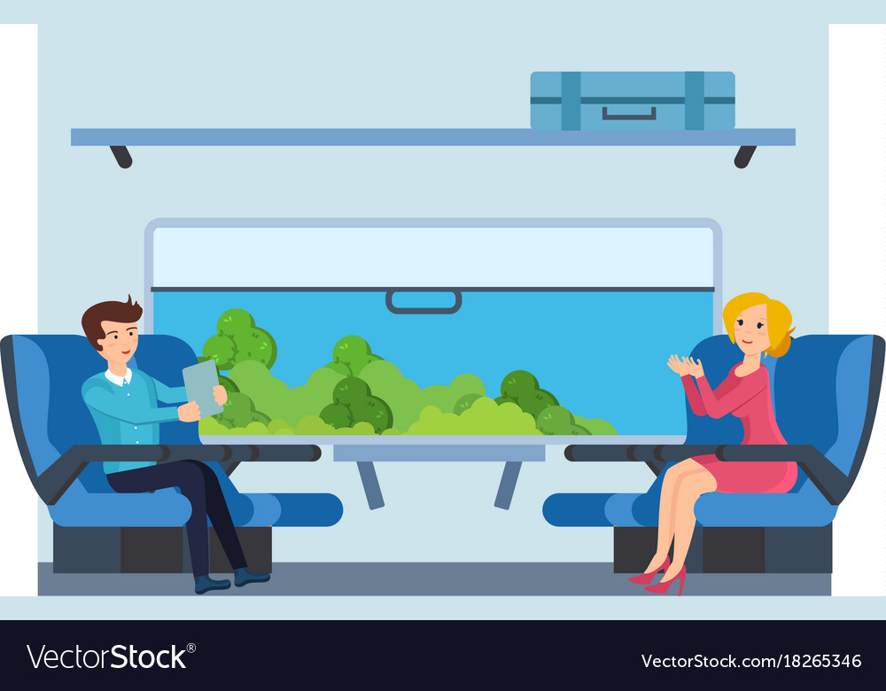 Couple on train against cabin interior background vector image