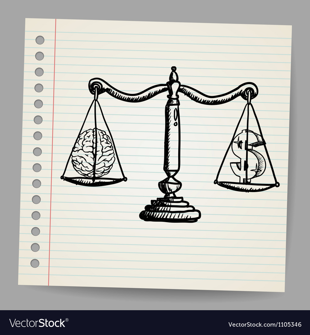 Knowledge value and money doodle vector image