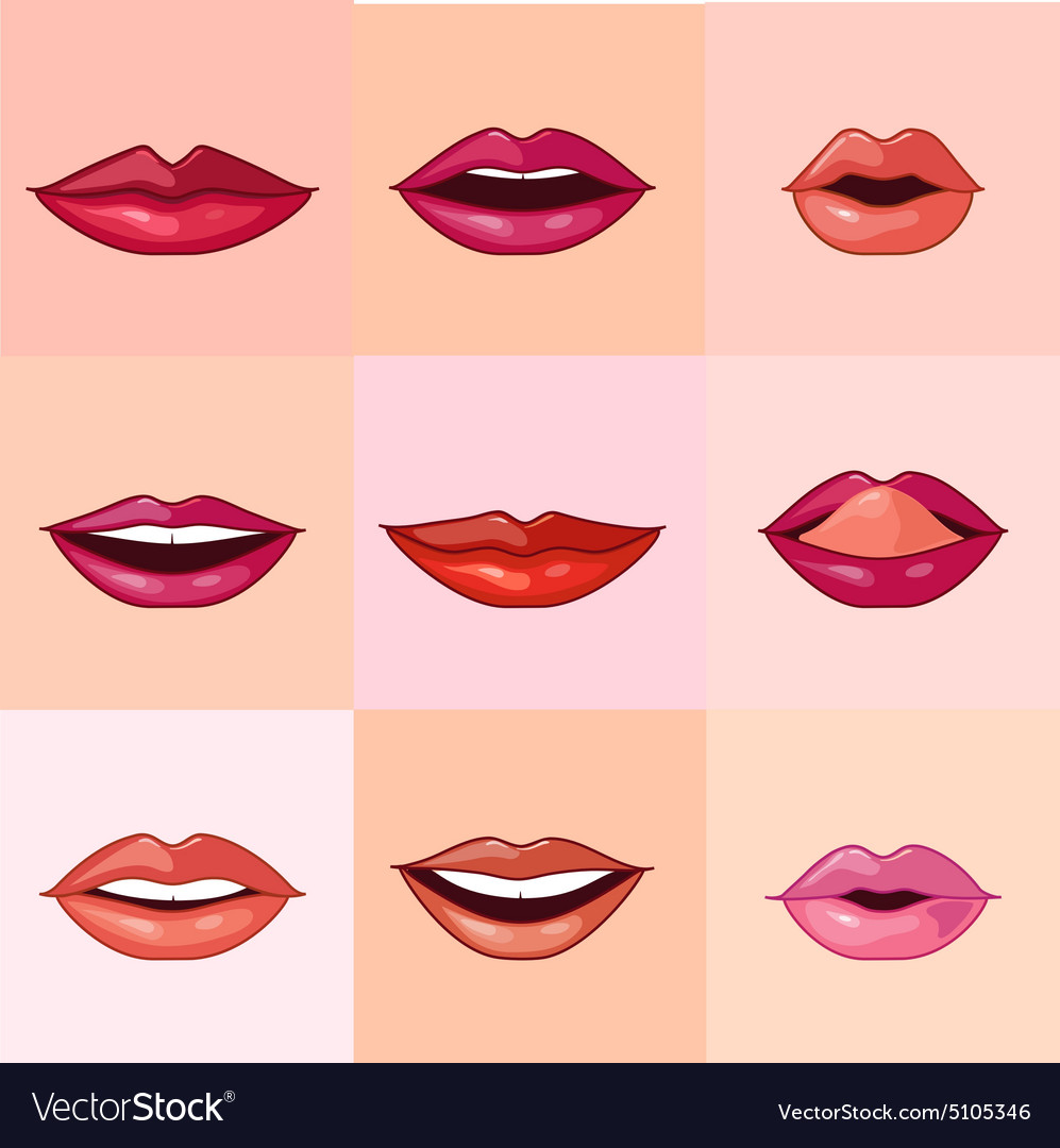 Set of Beautiful Female Lips vector image