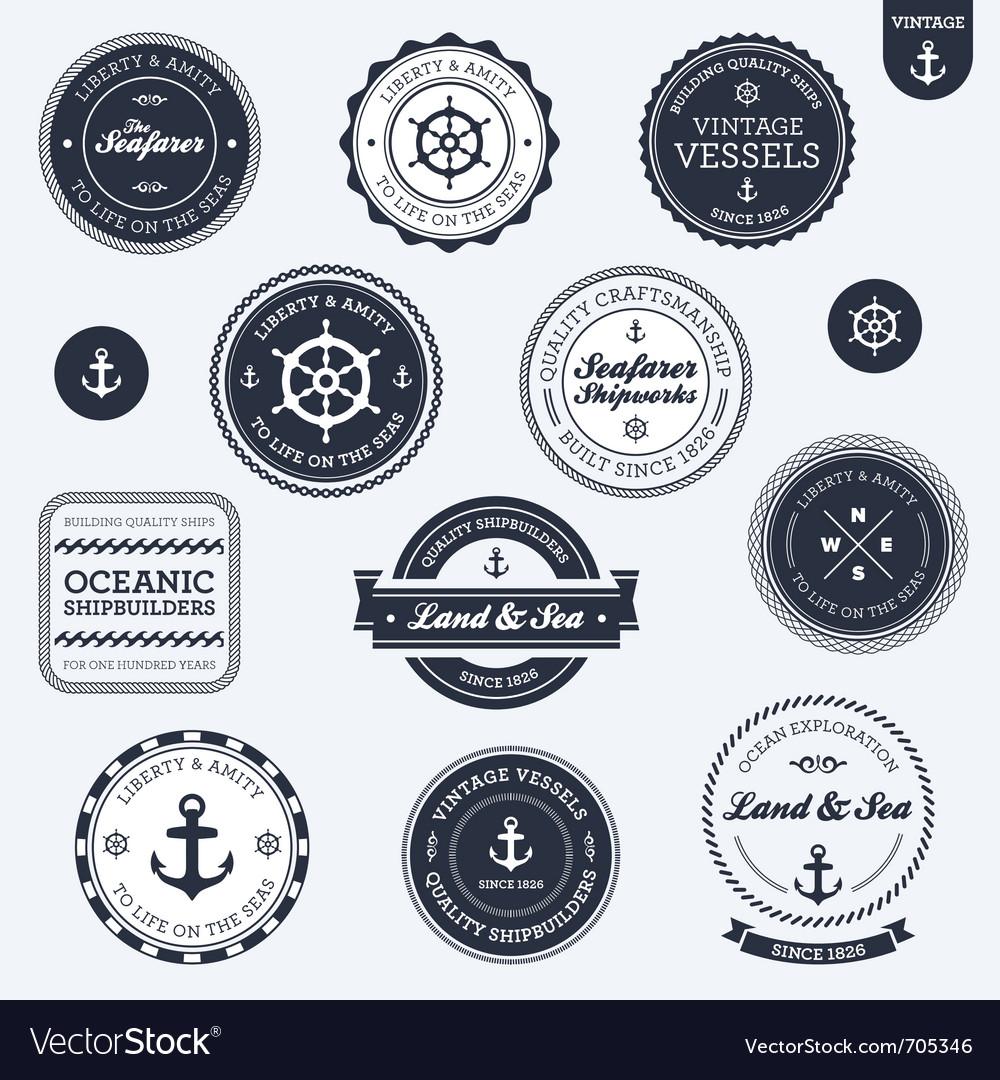 Vintage nautical labels vector image