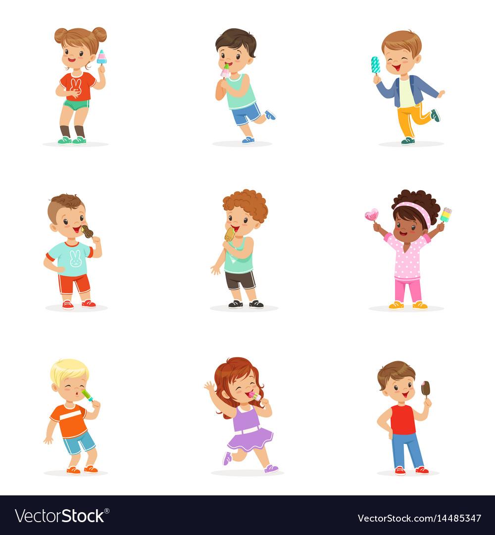 Cute little children eating ice cream happy vector image