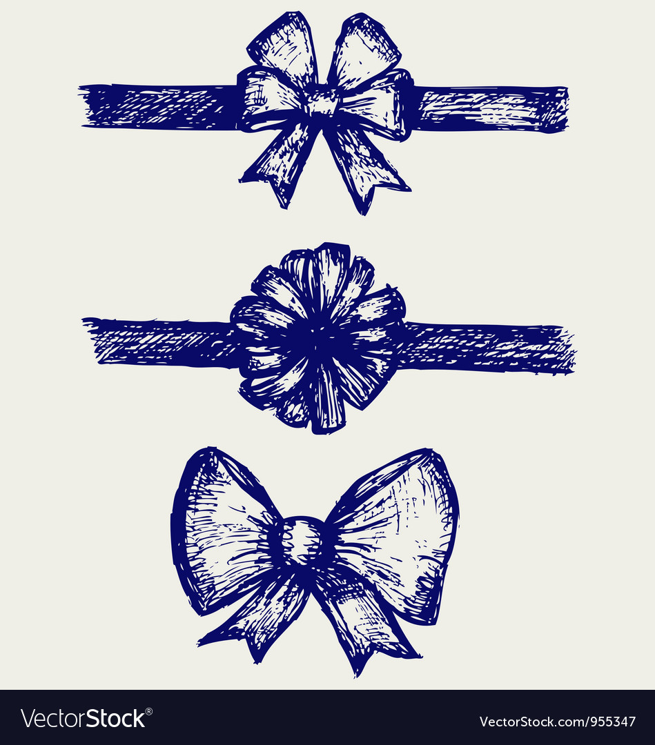 Set gift bows with ribbons vector image