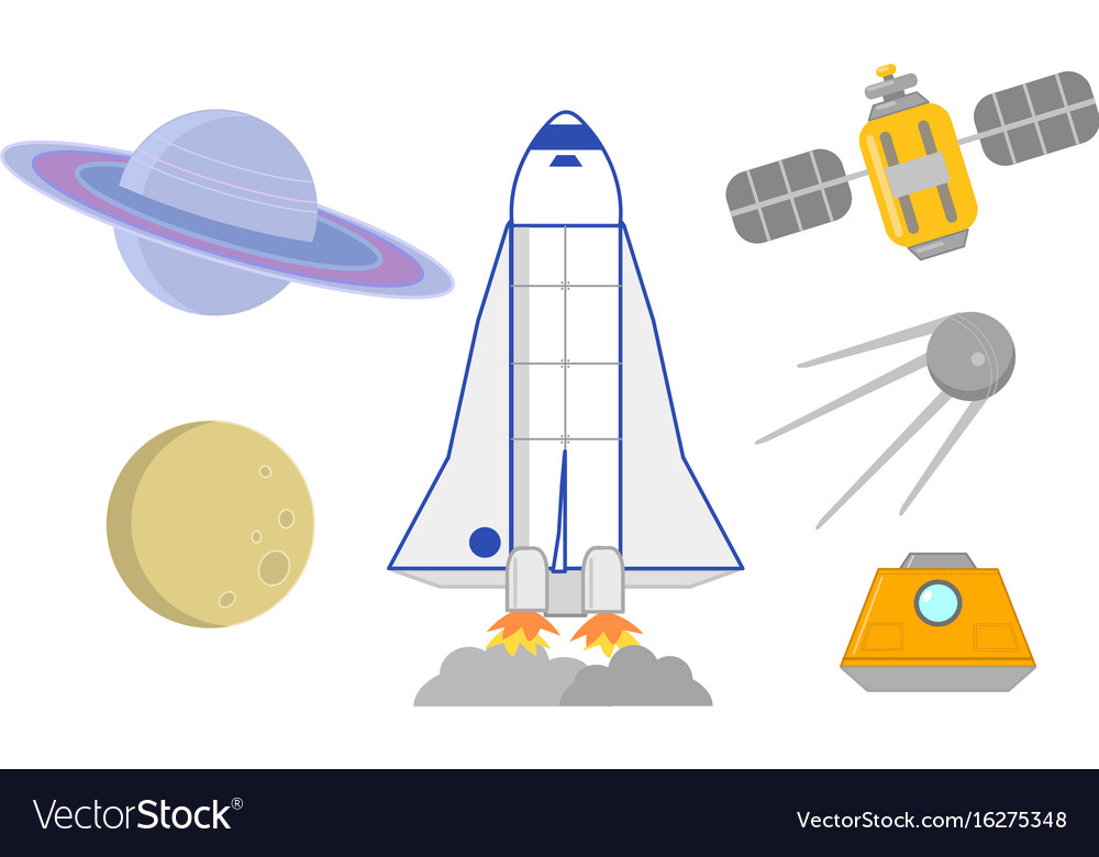 Space rockets satellites and planets vector image