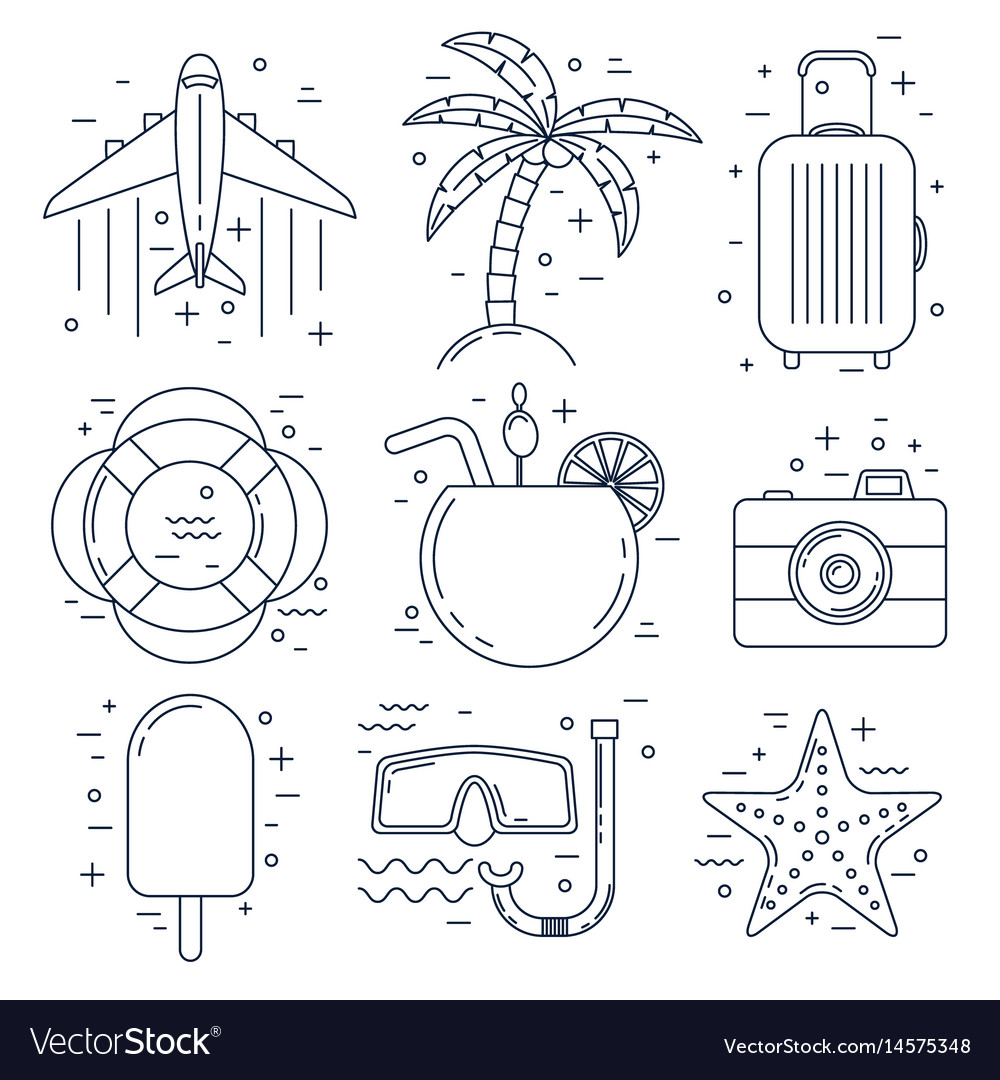 Vacation thin line icons summer set vector image