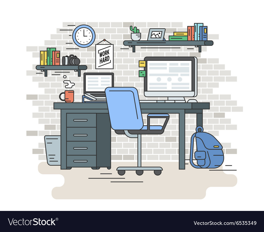 Student workplace room interior vector image