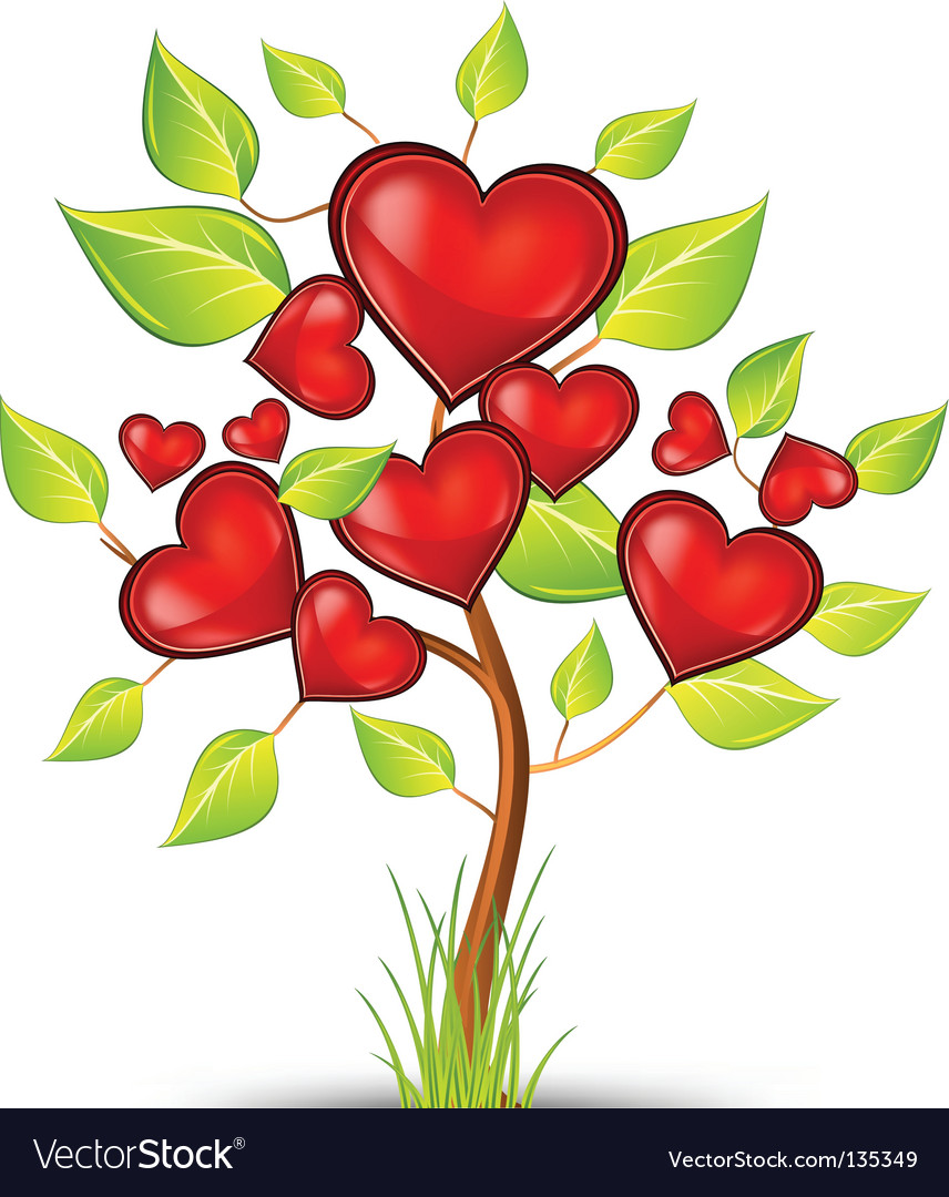 Tree of hearts vector image