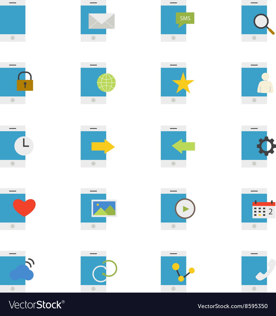 Mobile Phone Device Flat Icons color vector image