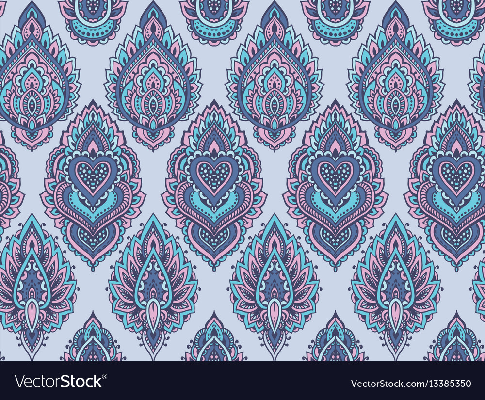 Henna Mehndi Vector : Seamless pattern with henna mehndi floral vector image