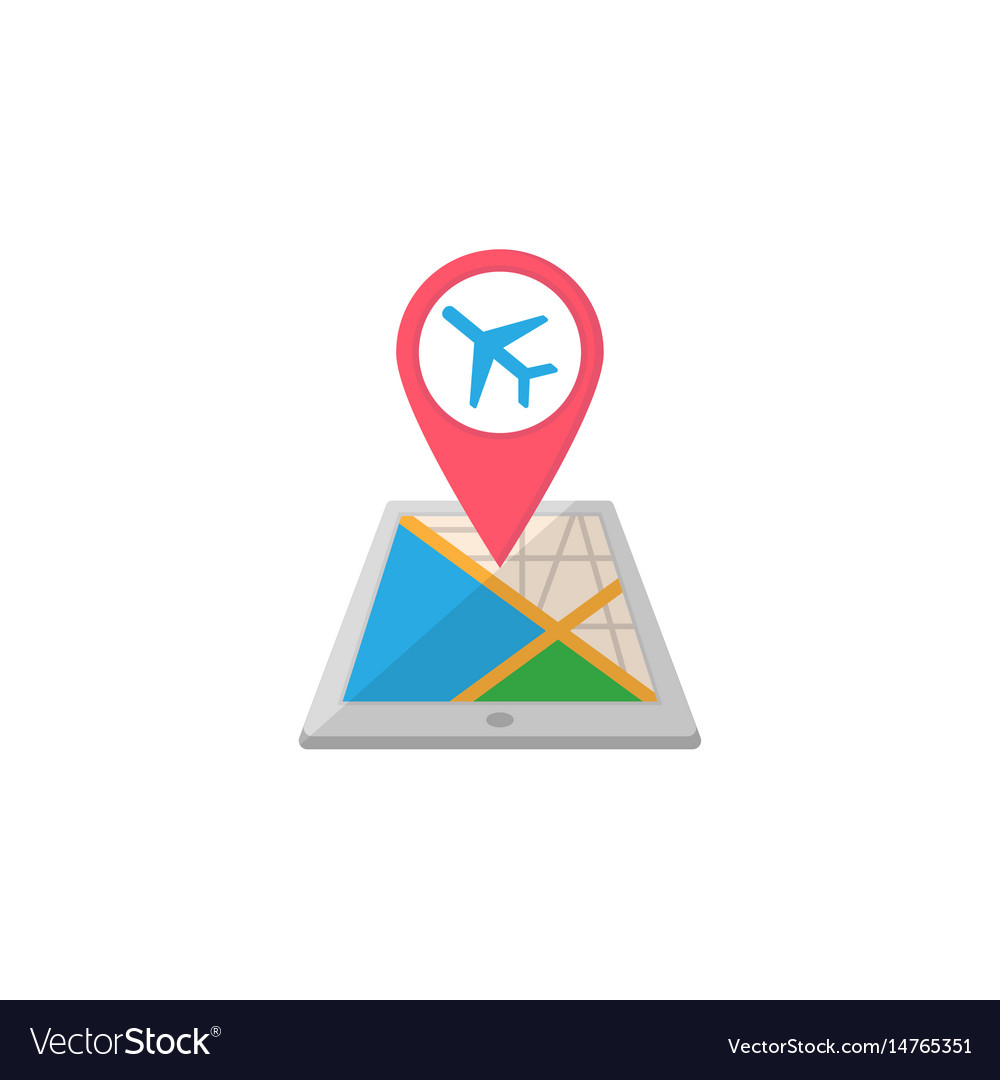 Airport map pointer flat icon mobile gps vector image
