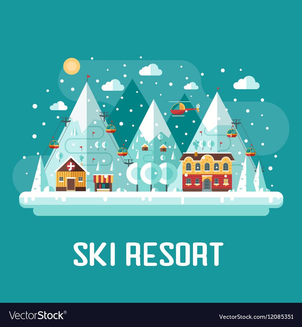 Mountains Ski Resort Landscape vector image