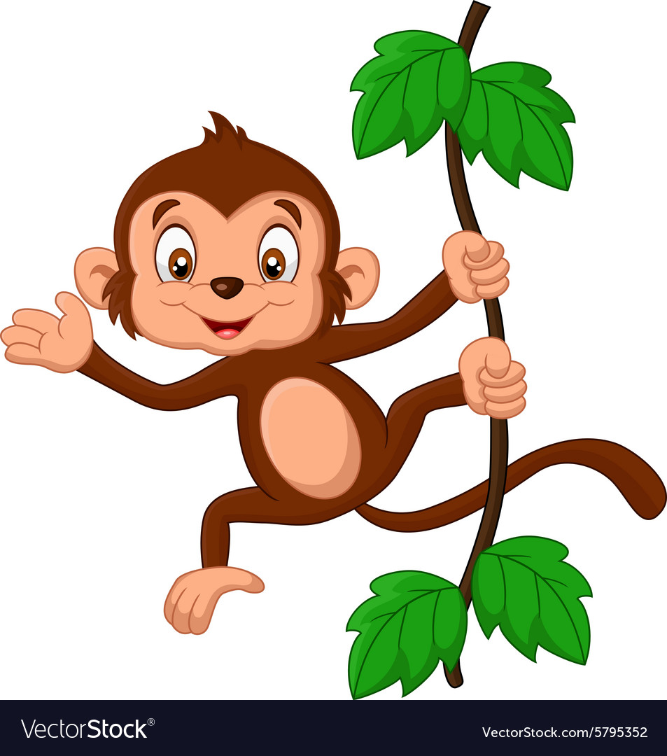 Images for simple cartoon monkey hanging - Cartoon Monkey Hanging In Tree Vector Image