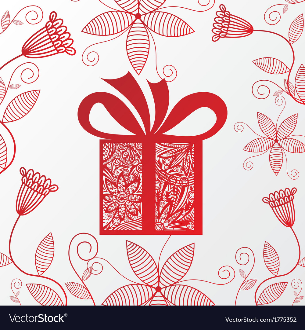 Happy birthday greeting card gift flowers vector image