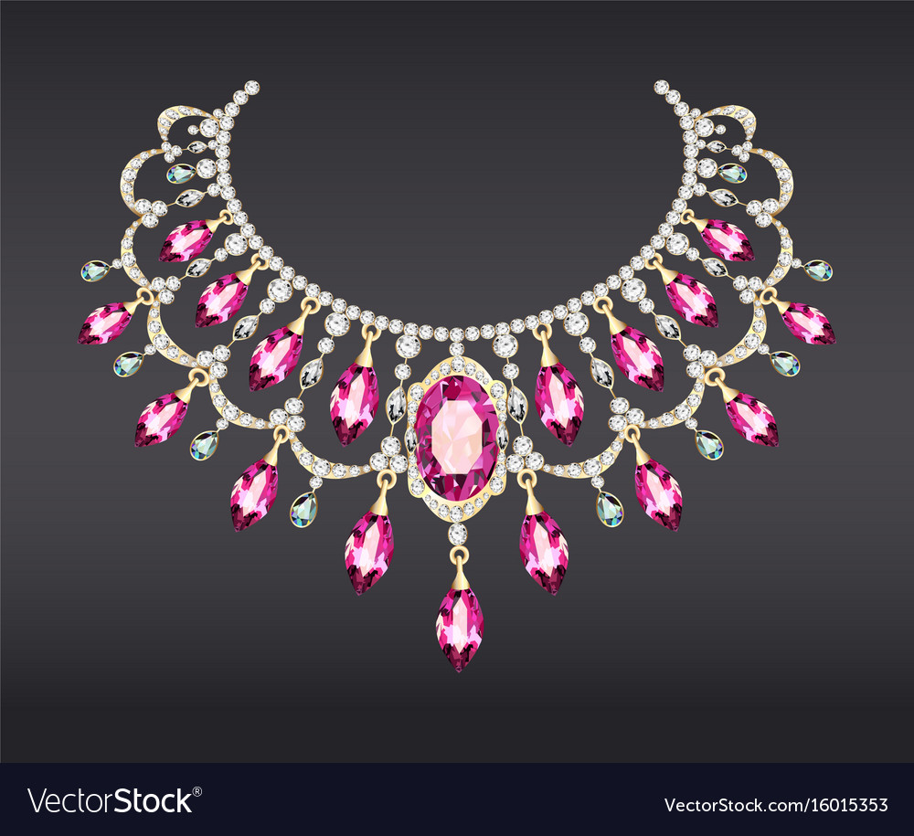 A golden necklace female with precious stones vector image