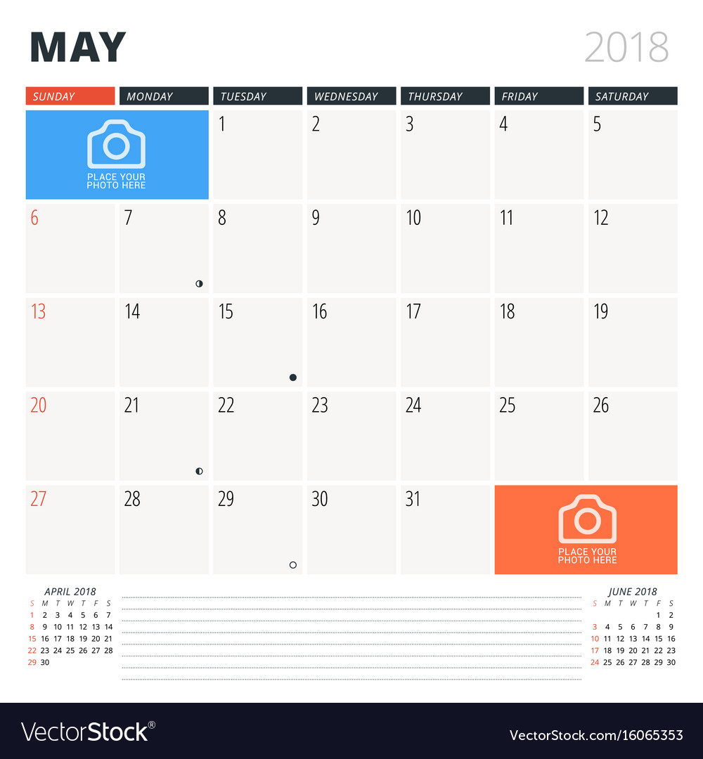 Calendar Planner For May : Calendar planner for may design template vector image