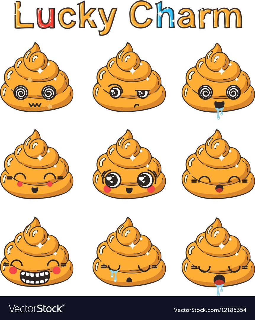 Kawaii golden poop emoticons set Japanese wealth vector image
