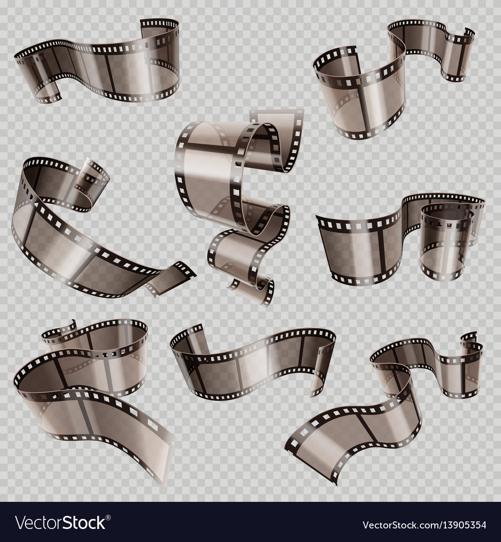 Retro 35mm foto and movie film roll set vector image
