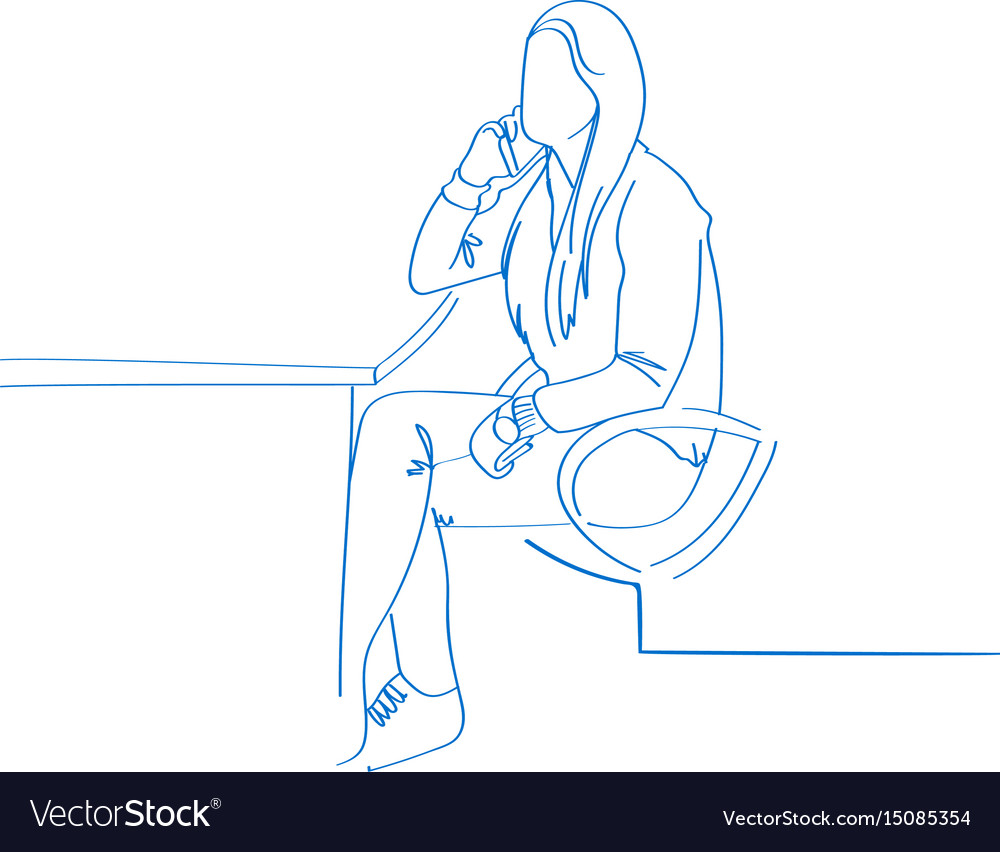 Young hand drawn woman talking on the phone in vector image