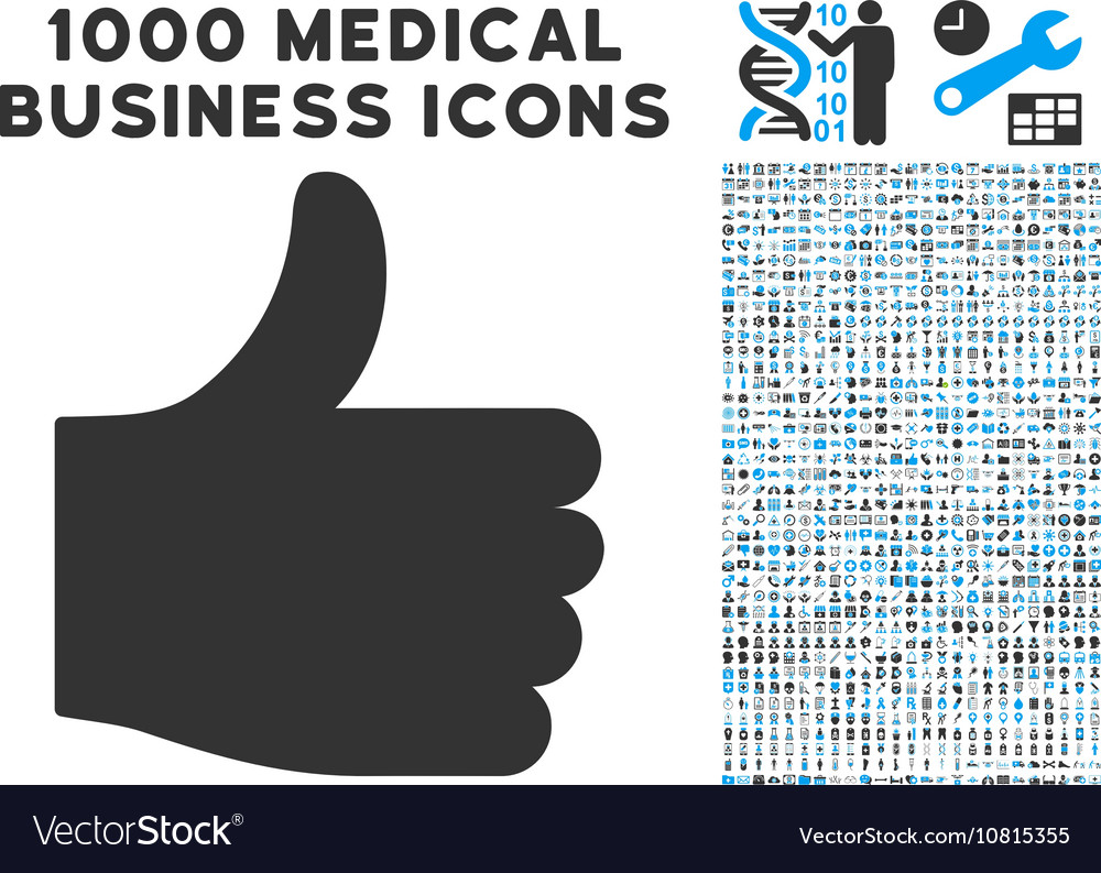 Thumb Up Icon with 1000 Medical Business vector image
