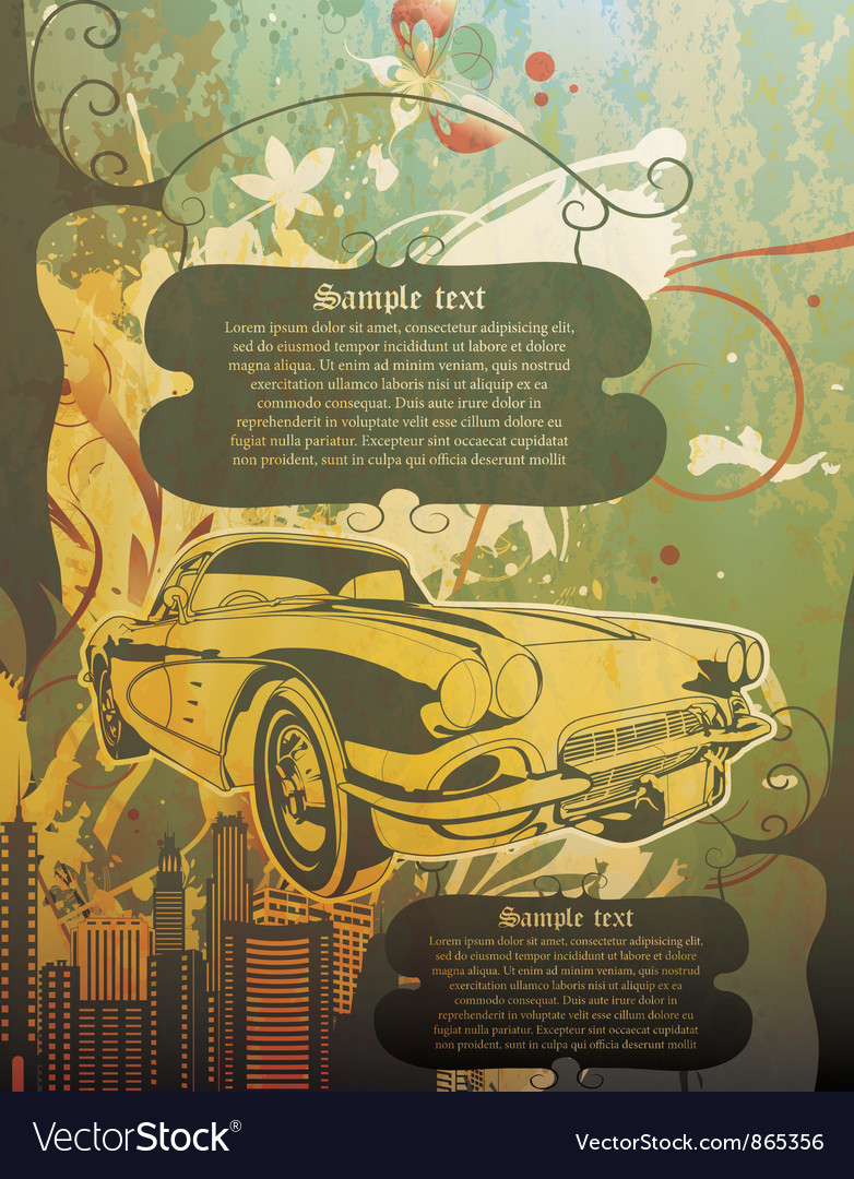 Vintage background with car vector image