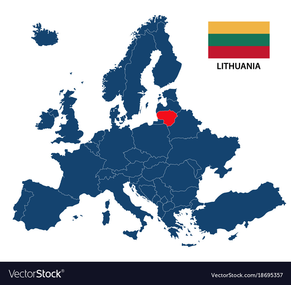 Map of europe with highlighted lithuania Vector Image