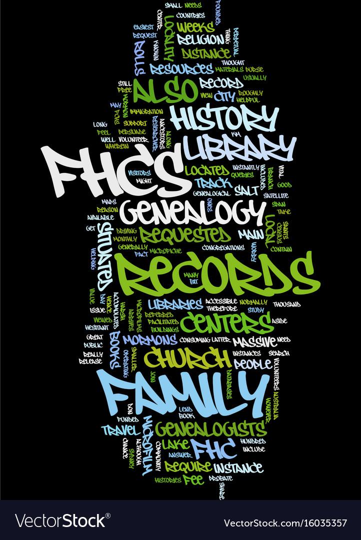 Mormon genealogy text background word cloud vector image