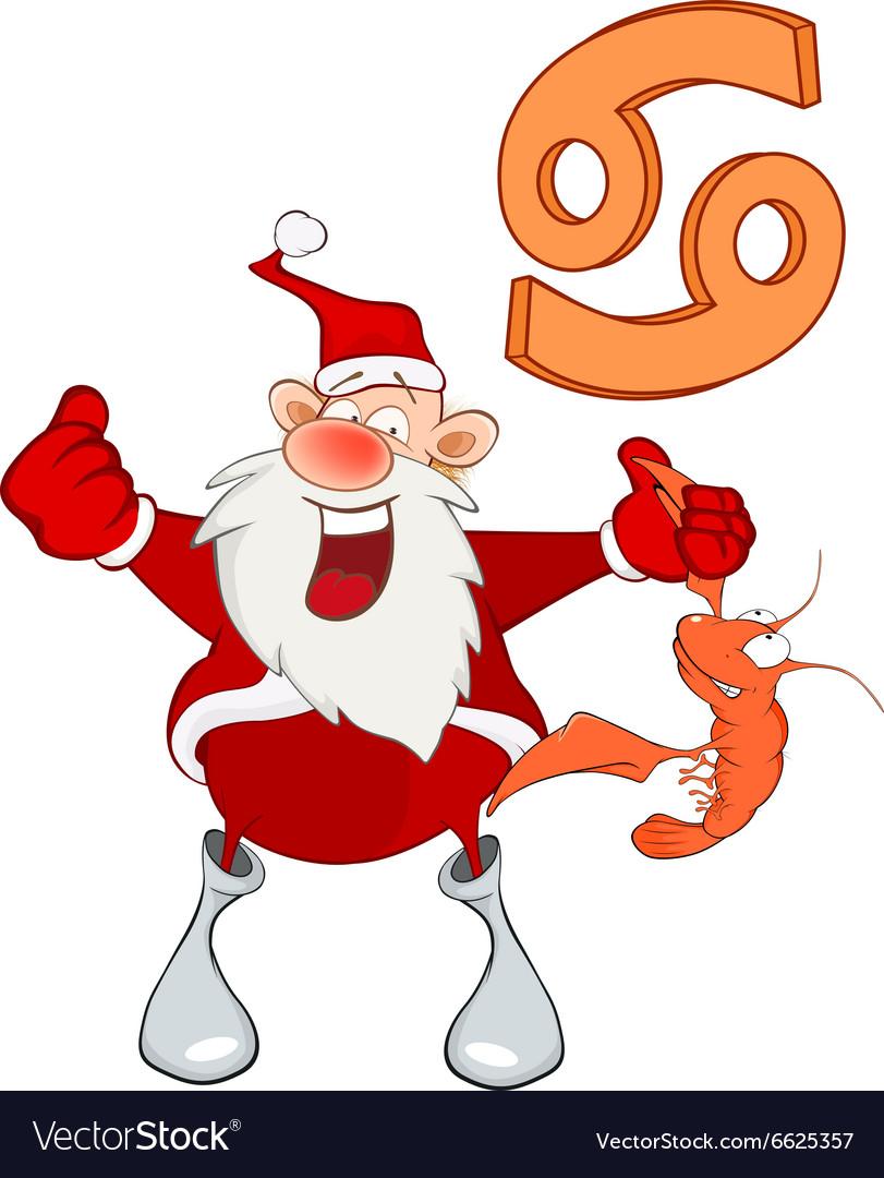 Santa Claus Astrological Sign in Zodiac Cancer Vector Image