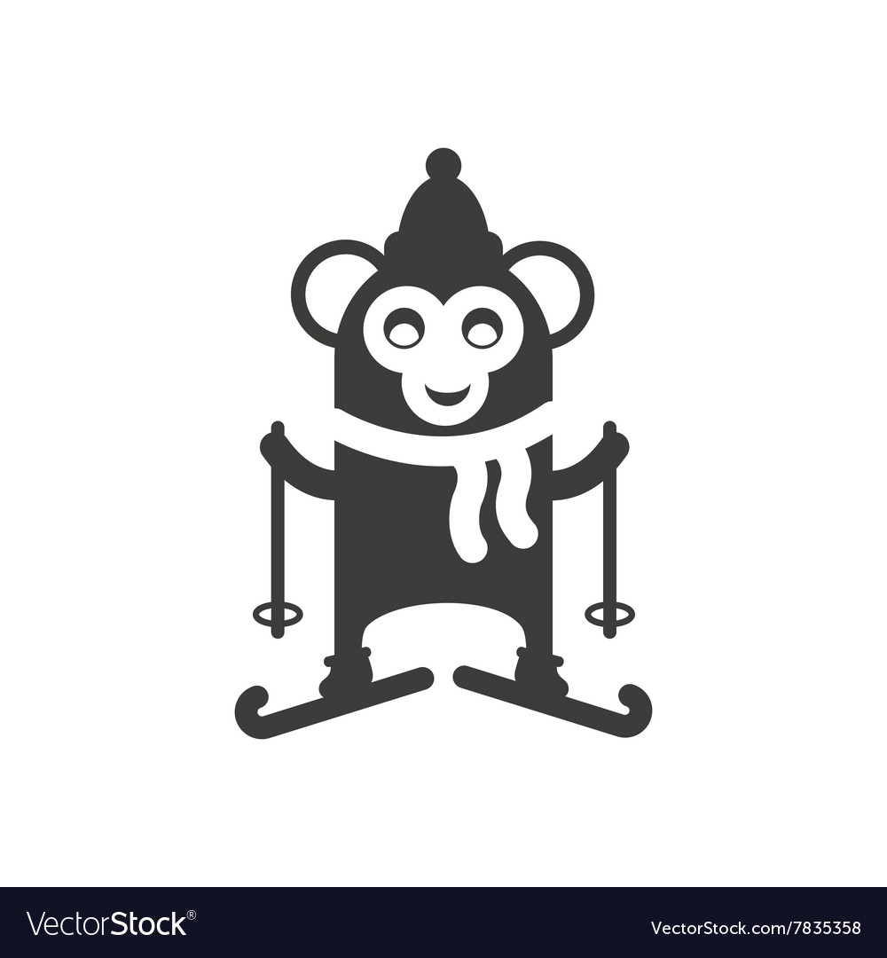 Flat icon in black and white style monkey skiing