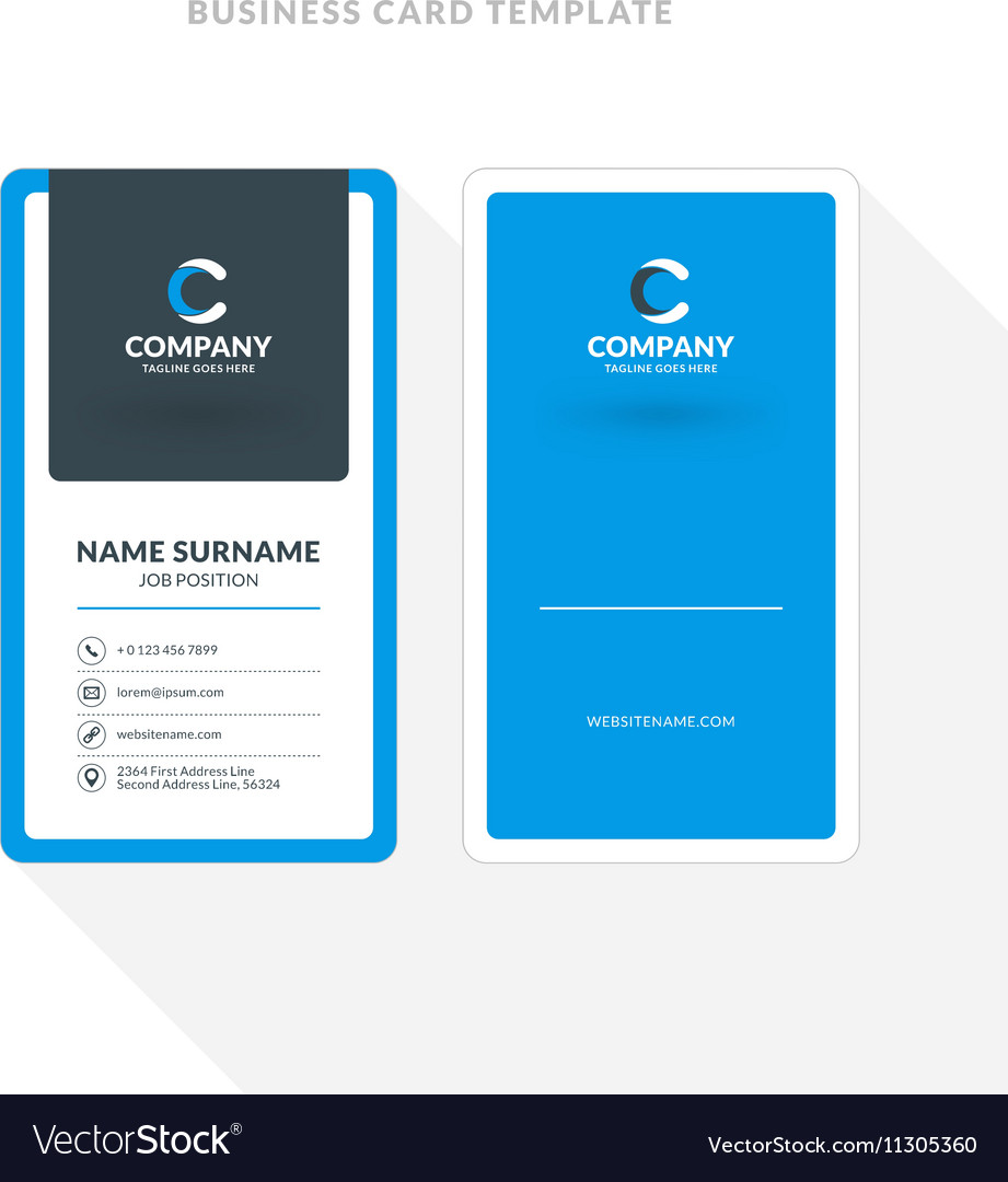 Vertical double sided business card template blue vector image wajeb Images