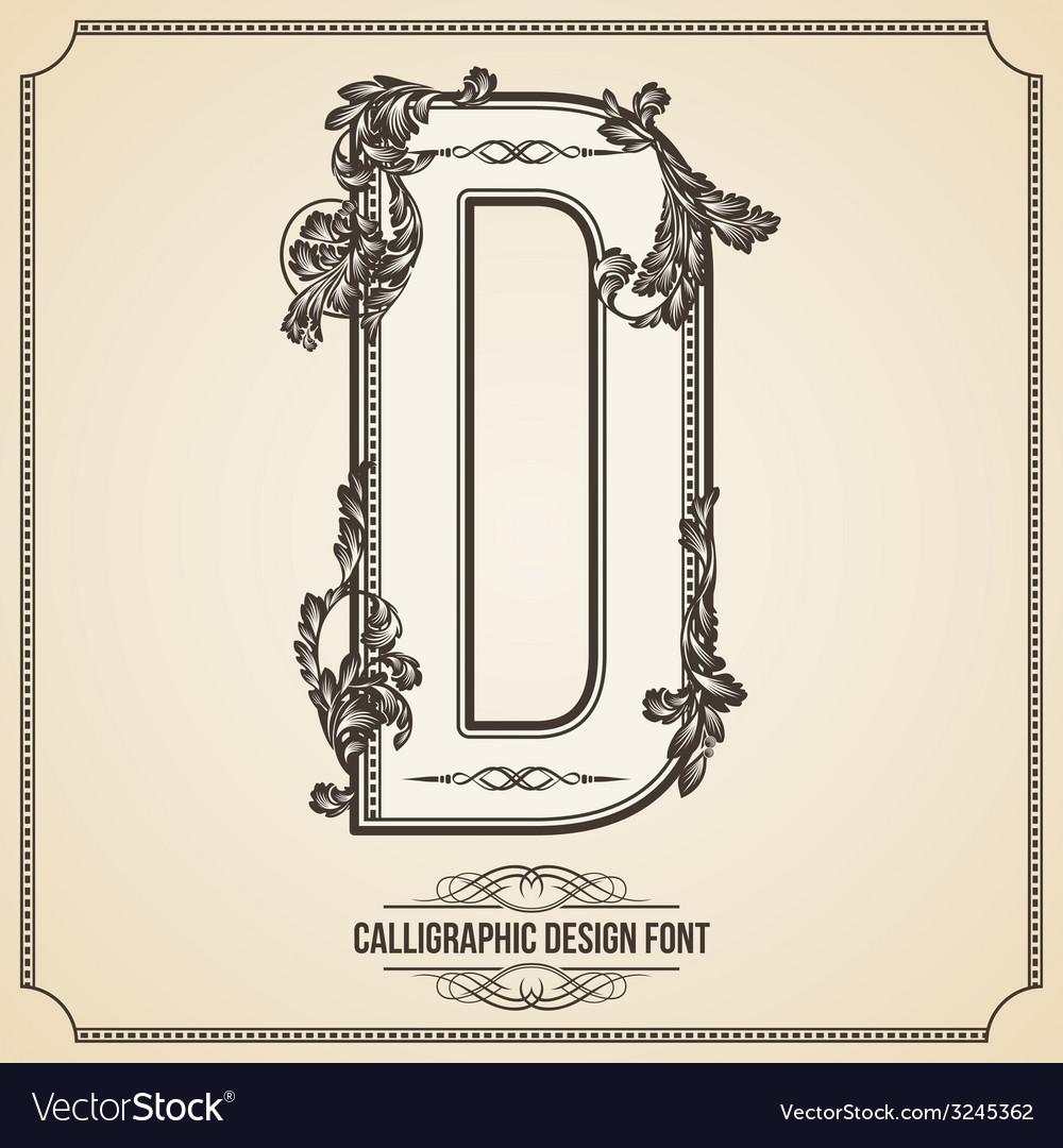 Calligraphic font Letter D vector image