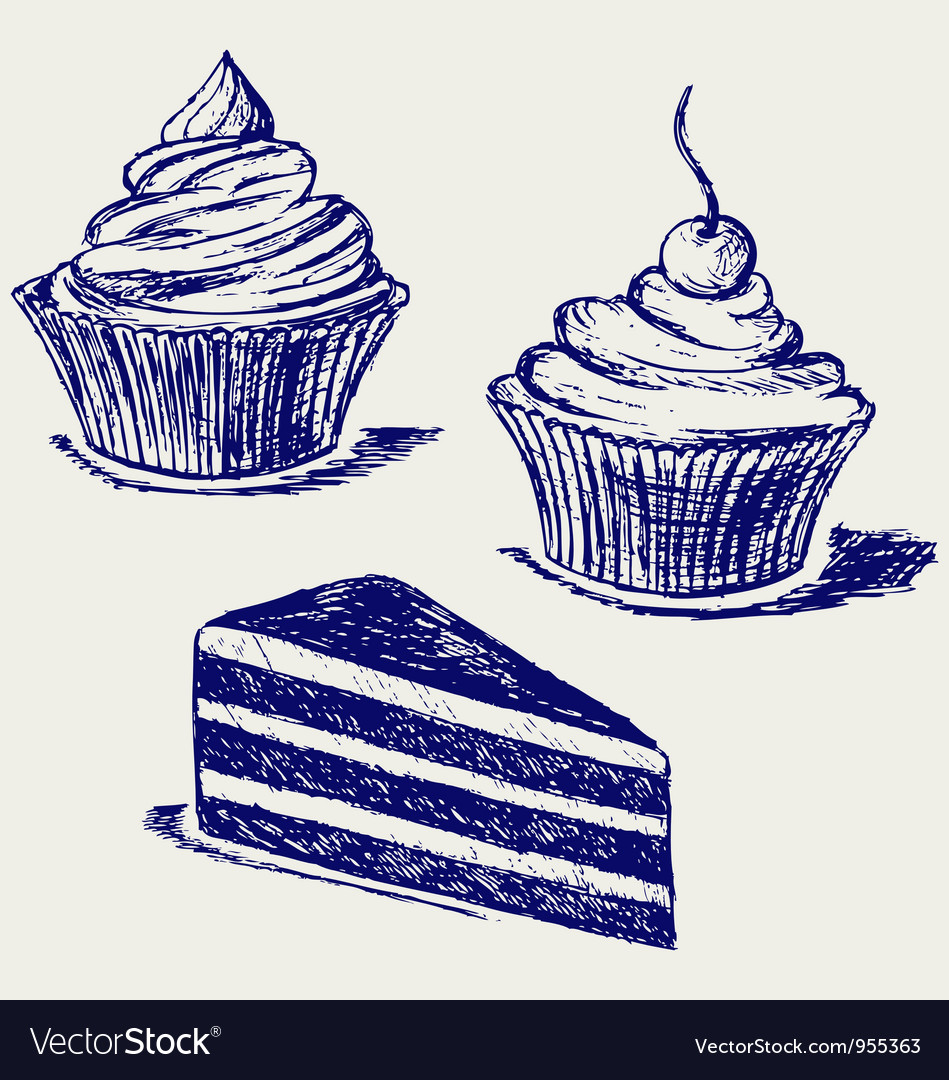 Cute cupcake vector image