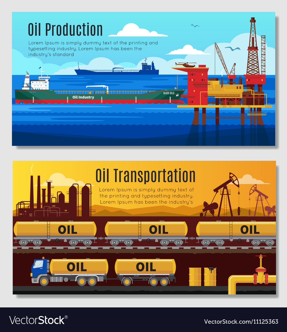 Oil Industry Horizontal Banners vector image