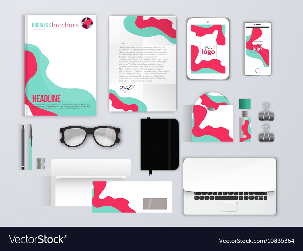 Corporate identity template Branding MockUps with Vector Image