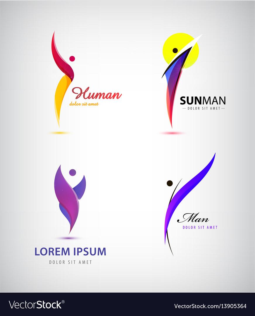 Set of creative human man logos leader vector image