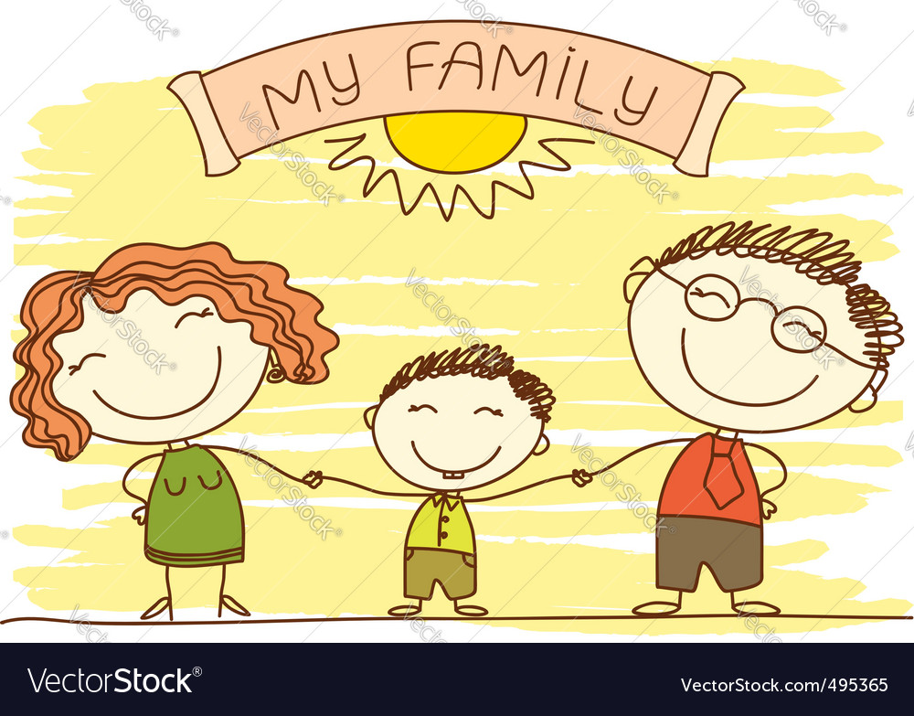Family cartoon vector image