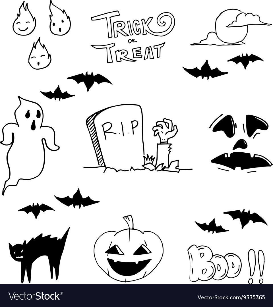 Ghost halloween doodle art Royalty Free Vector Image