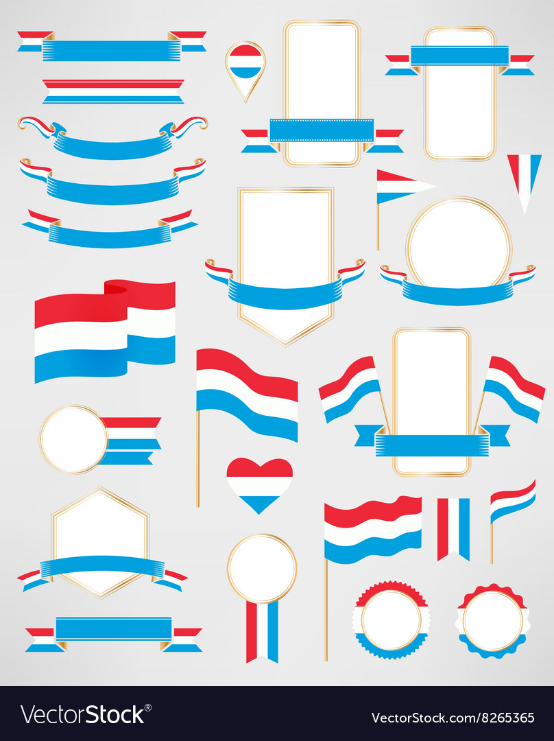 Luxembourg flag decoration elements vector image