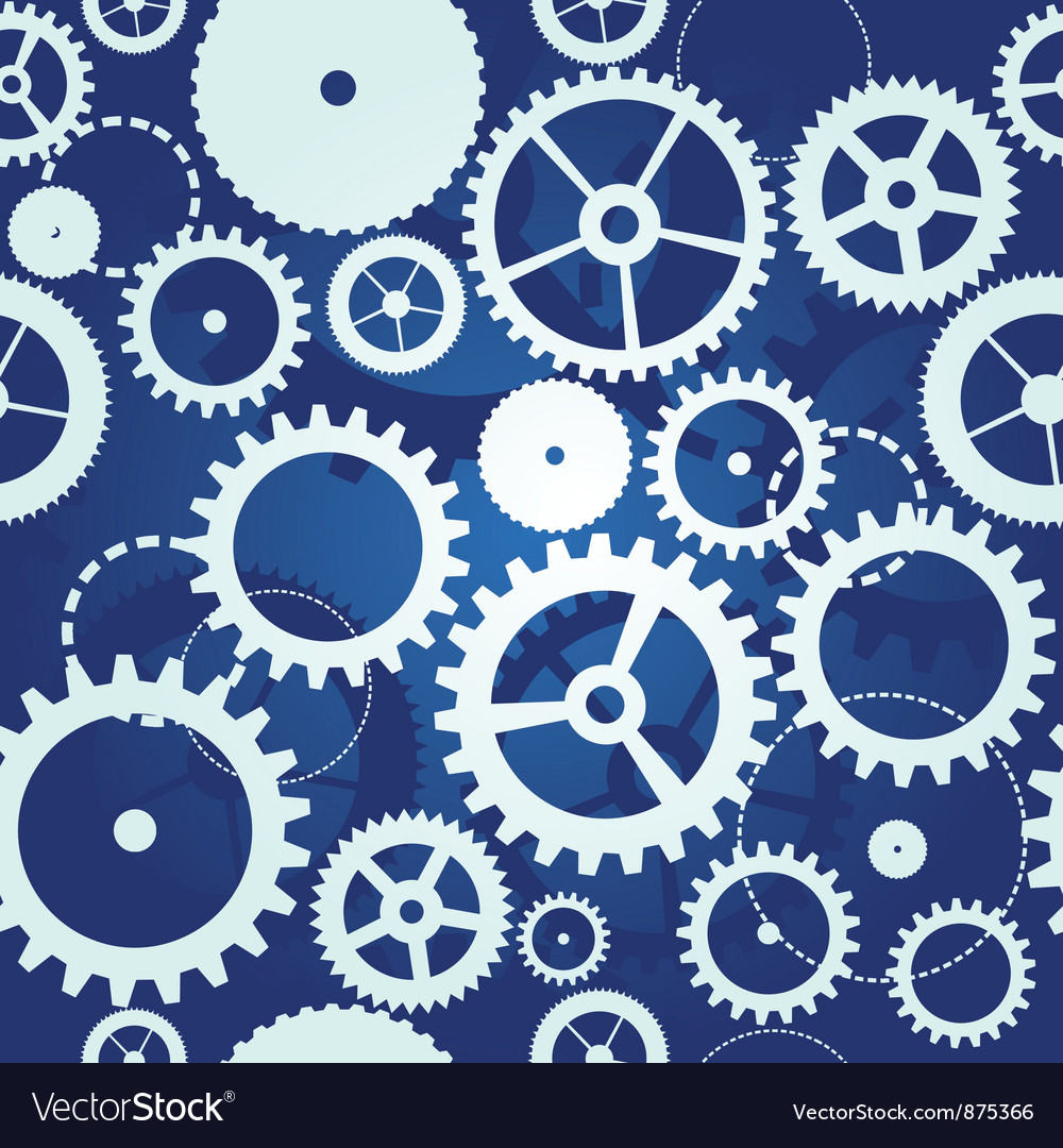 Blue seamless pattern with cogs and gears vector image