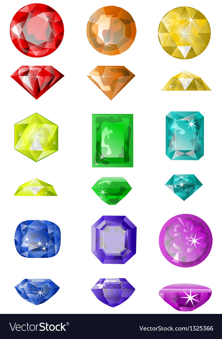 Set of precious stones Royalty Free Vector Image