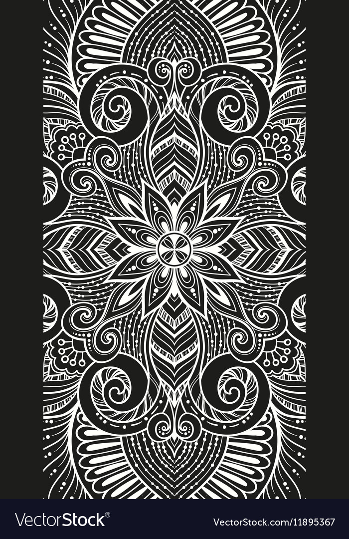 Asian ethnic floral retro doodle black and white vector image