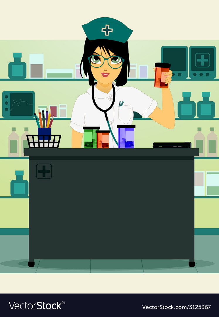 Doctor holding prescription bottle vector image