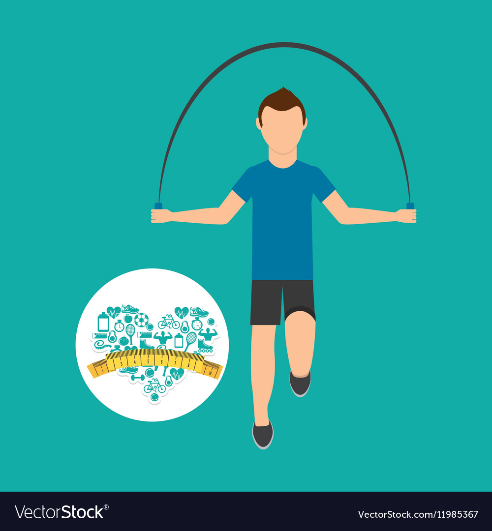 Heart weight loss sport male jumping rope vector image